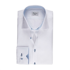 Stenstrøms Skjorte Hvid (White Fitted Body Shirt With Blue Contrast Details)